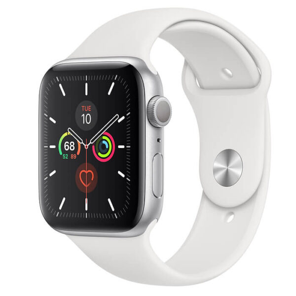 Apple Watch Series 5 GPS 44mm Silver Aluminum Case with White Sport Band (MWVD2)
