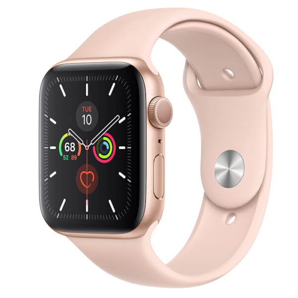 Apple Watch Series 5 GPS 44mm Gold Aluminum Case with Pink Sport Band (MWVE2)