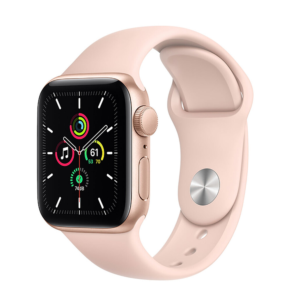 Apple Watch SE 40mm Gold Aluminum Case with Pink Sport Band (MYDN2)