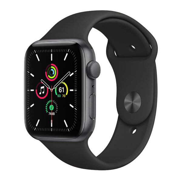 Apple Watch SE 44mm Space Gray Aluminum Case with Black Sport Band (MYE32)